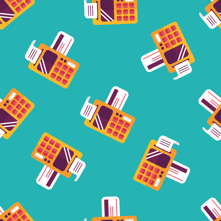 cardreader: Shopping credit card machine flat icon,eps10 seamless pattern background Illustration