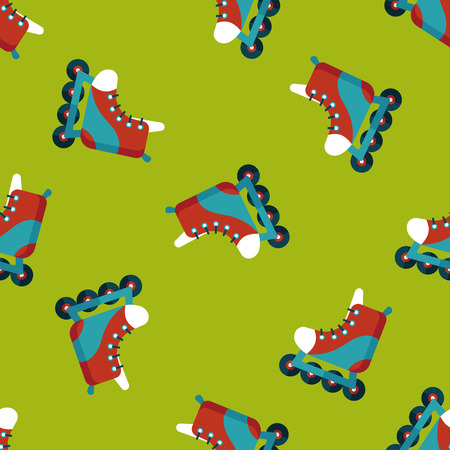 roller skates flat icon seamless pattern background