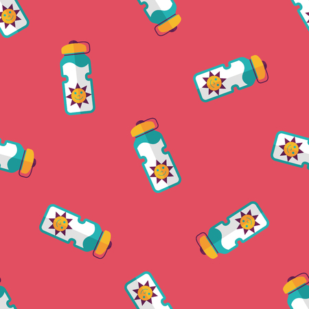portability: sports water bottle flat icon,eps10 seamless pattern background Illustration