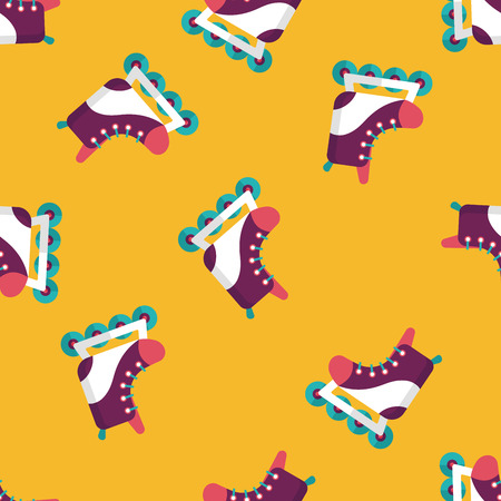 casters: roller skates flat icon seamless pattern background