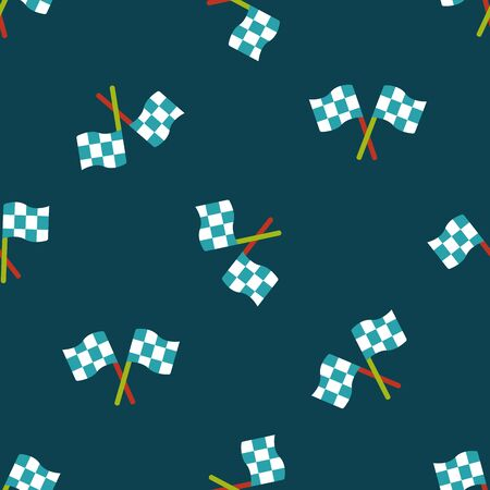 motorized sport: racing flags flat icon seamless pattern background