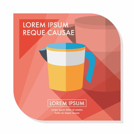 liter: kitchenware measuring cup flat icon with long shadow,eps10
