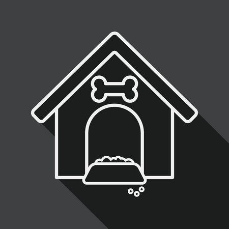 Haustierhundehütte Flach Symbol mit langen Schatten, eps10 Vektorgrafik