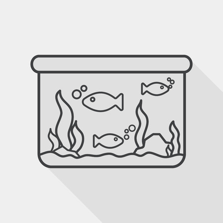gold fish bowl: Pet fish flat icon with long shadow,eps10 Illustration