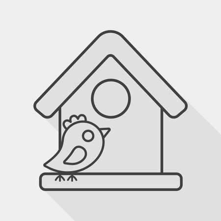 maison oiseau: Animaux maison d'oiseau ic�ne plat avec ombre, eps10 Illustration