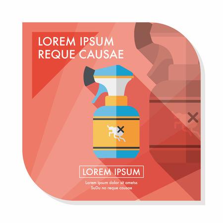 flea: Icono plana Pet aerosol de la pulga con larga sombra, eps10
