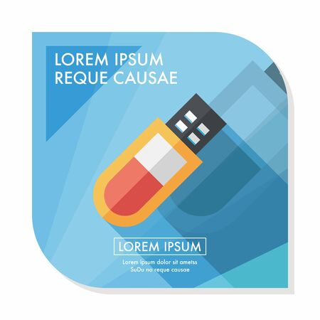 pocket pc: Usb flash memory flat icon with long shadow,eps10 Illustration