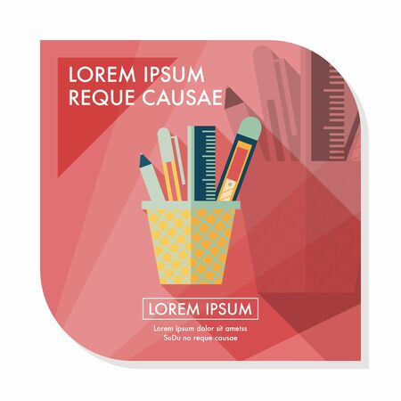 pen holder: Pen Holder flat icon with long shadow,eps10