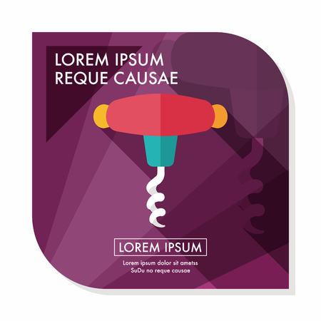 drink tools: kitchenware corkscrew flat icon with long shadow,eps10