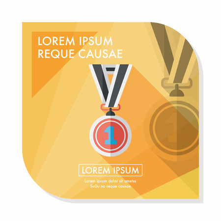 medal ribbon: medal flat icon with long shadow,eps10