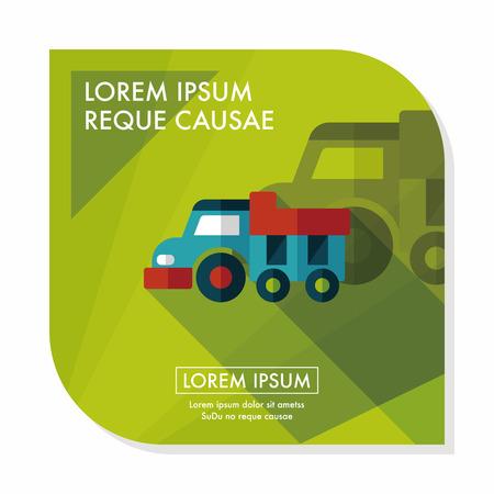 dump truck: Dump truck flat icon with long shadow,eps10