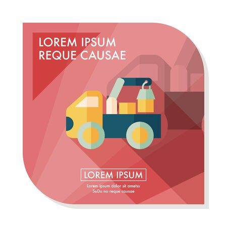 car loader: truck flat icon with long shadow,eps10 Illustration