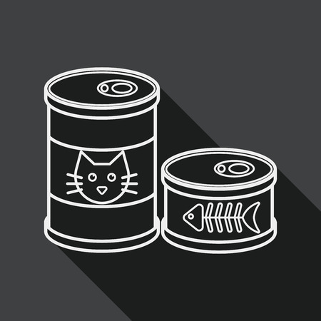 food can: Pet cat food can flat icon with long shadow,eps10