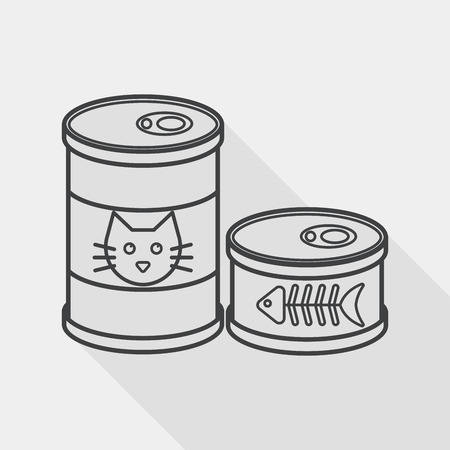 pets: Pet cat food can flat icon with long shadow,eps10