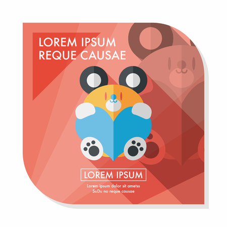 lovable: Valentines day present bear flat icon with long shadow,eps10