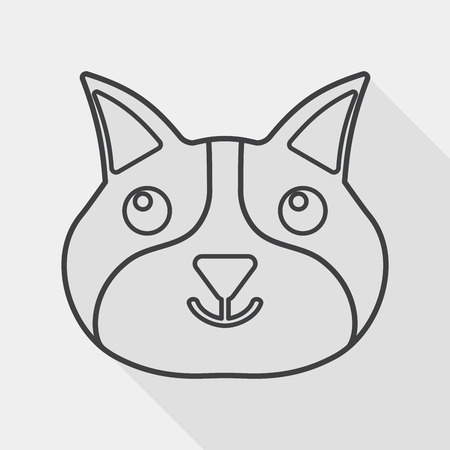 pet cat: Pet cat flat icon with long shadow,eps10