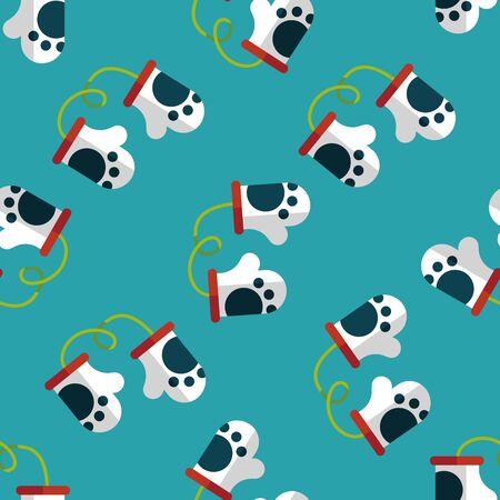 babyish: baby Gloves flat icon,eps10 seamless pattern background Illustration