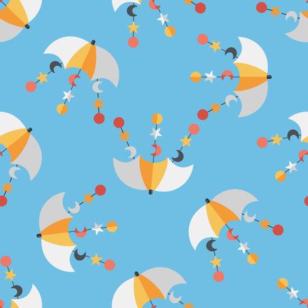 hanging toy: Baby crib hanging toy flat icon,EPS 10 seamless pattern background