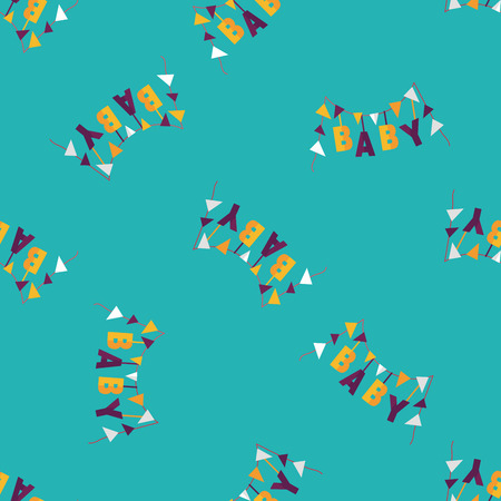 BABY party flat icon,eps 10 seamless pattern background Vector