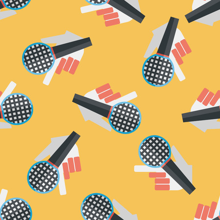 silver service: Microphone flat icon,eps10 seamless pattern background