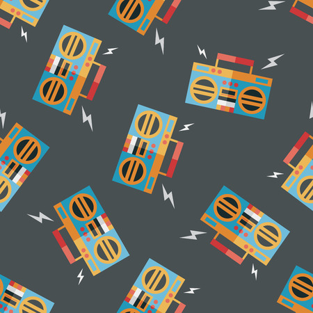 ghetto blaster: ghetto blaster audio flat icon,eps10 seamless pattern background Illustration
