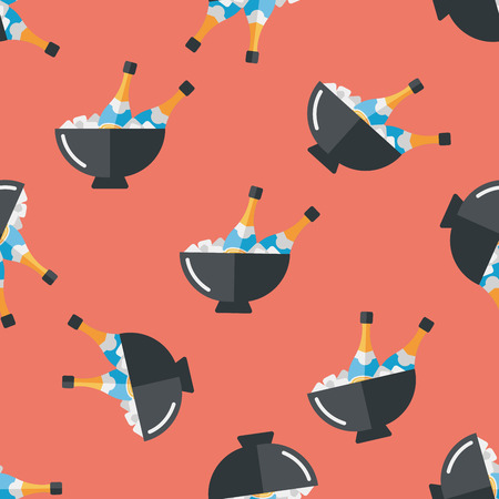 Ice bottle flat icon,eps10 seamless pattern background Vector