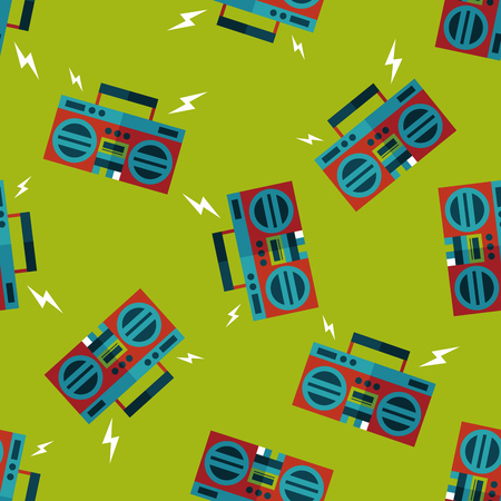 blaster: ghetto blaster audio flat icon,eps10 seamless pattern background Illustration