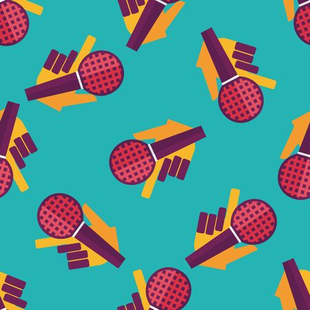radio microphone: Microphone flat icon,eps10 seamless pattern background