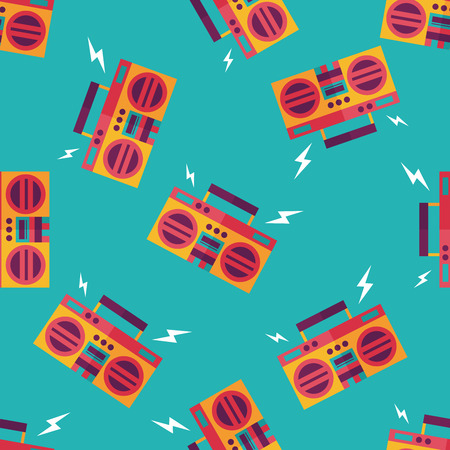 ghetto: ghetto blaster audio flat icon,eps10 seamless pattern background Illustration