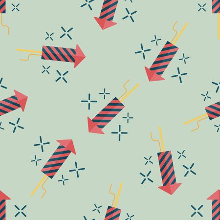 skyrocket: Firecracker flat icon,eps10 seamless pattern background