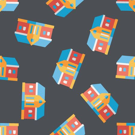 Building flat icon,eps10 seamless pattern background Vector