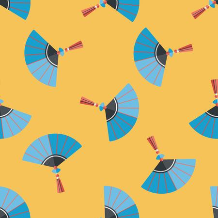 open fan: Chinese New Year flat icon,eps10, Chinese foldi seamless pattern background Illustration