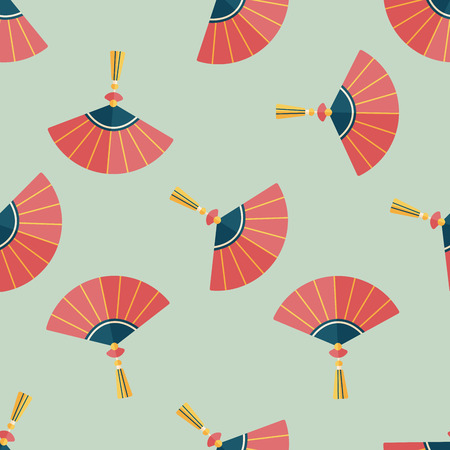 open fan: Chinese New Year flat icon,eps10, Chinese foldi seamless pattern background Illustration