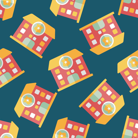 police station flat icon,eps10 seamless pattern background Vector