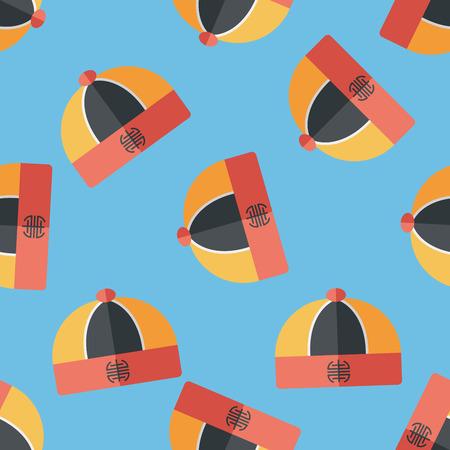 chinese hat: Chinese hat flat icon,eps10 seamless pattern background Illustration