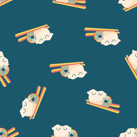 raw pork: Chinese New Year flat icon,eps10, Coin wrapped  seamless pattern background
