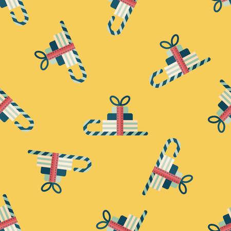 gift basket: Christmas sleigh gift basket flat icon,eps10 seamless pattern background