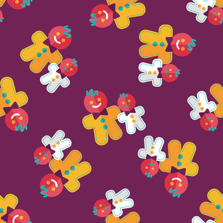 Gingerbread man flat icon,eps10 seamless pattern background