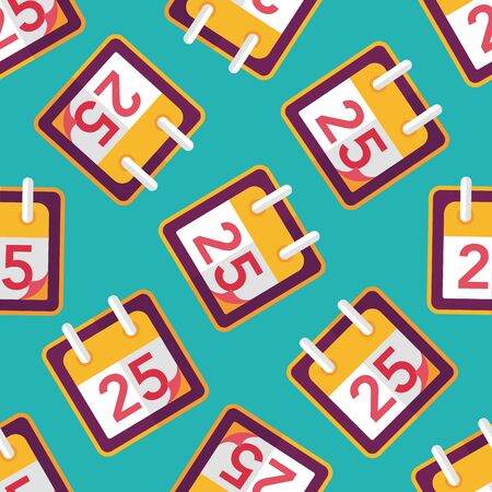Calendar flat icon, eps10 seamless pattern background Vector