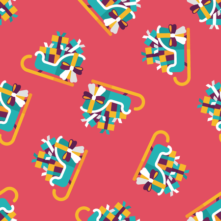 gift basket: Christmas sleigh gift basket flat icon,eps10 seamless pattern background