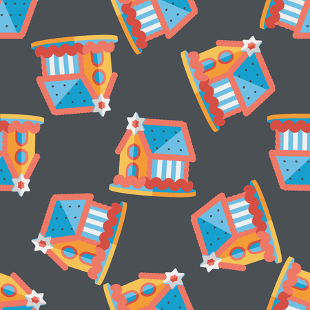 holiday villa: Gingerbread house flat icon,eps10 seamless pattern background