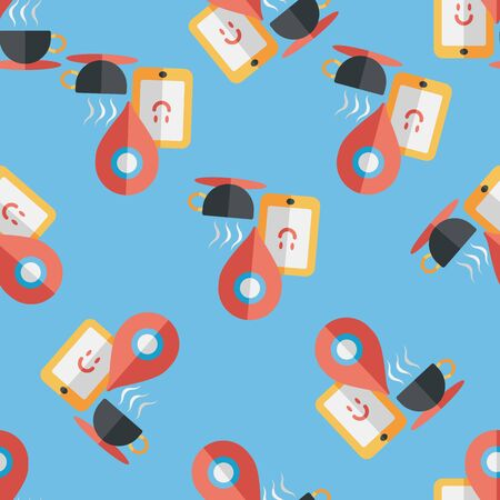 coffeecup: coffee flat icon, eps10, When you go to coffee  seamless pattern background Illustration