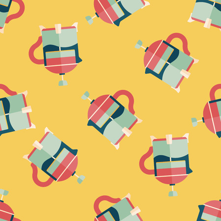 tea pot: tea pot flat icon,eps10 seamless pattern background Illustration
