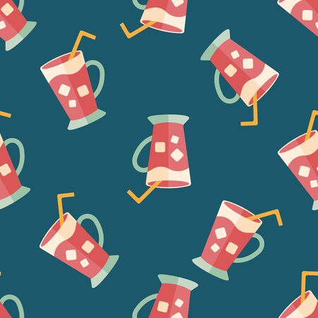 iced: iced drink flat icon,eps10 seamless pattern background