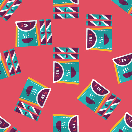 3 in 1 coffee flat icon,eps10 seamless pattern background Vector