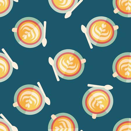 latte: coffee latte art flat icon,eps10 seamless pattern background Illustration