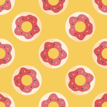 donut flat icon,eps10 seamless pattern background Vector