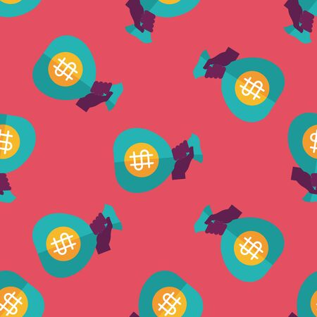 save money: money bag flat icon,eps10 seamless pattern background