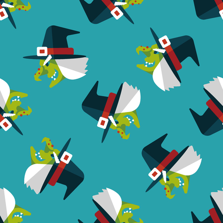 curse: witch hat flat icon,eps10 seamless pattern background