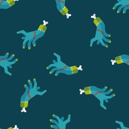 dangle: Halloween zombie mano icona piatto, eps10 sfondo seamless Vettoriali